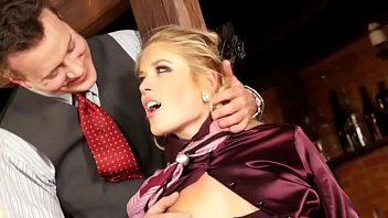 classy clothed blonde play with toy and suck.