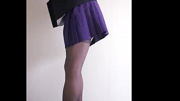 short skirt &amp_ stockings leg show