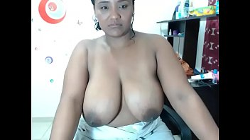 slutty ebony oiled big boobs tease