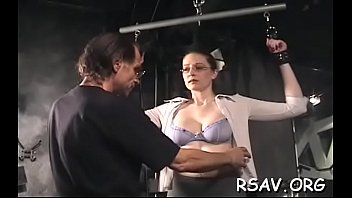hot babe in astonishing sadomasochism scenes with ropes.
