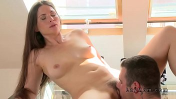 hairy pussy milf banged in dinning.
