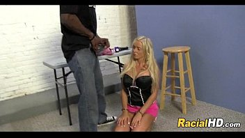 handcuffed blonde slave gets on her knees for bbc