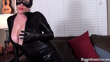 busty catwoman maggie green plays with.