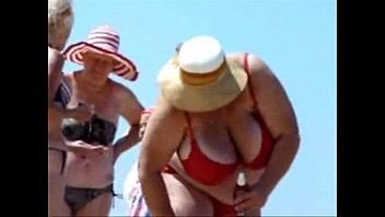 russian bbw mature big boobs on beach.
