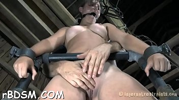 bounded slave angel is getting a lusty pussy castigation