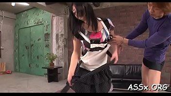 demure oriental schoolgirl enjoys rough group-sex.