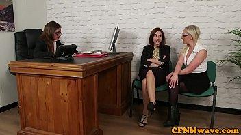 glamorous office femdoms sucking black sub