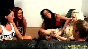 3 girls wanking big cock