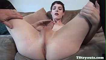 trans beauty wanks her cock at.