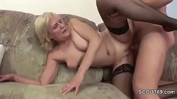 grandson seduce blonde granny to fuck.