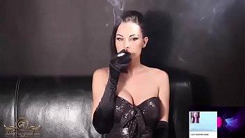 smoking lady with cig holder