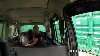 pierced and tattooed busty blonde fucks in fake taxi