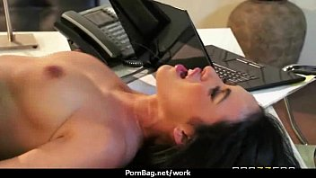 sexstar secretary analized in the office.