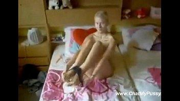teen girl stretches her virgin asshole.
