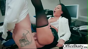 hard sex tape in office with naughty busty.
