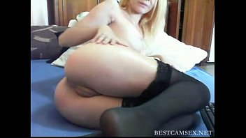 blonde likes putting dildo in asshole