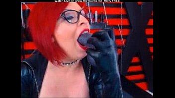 mature redhead with glasses sucking fake.