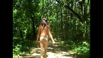 bare-ass camping and hiking in sissy panties by.