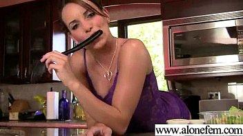 hot singe girl having fun with sex dildos.