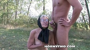 horny granny fucked outdoors badly in her hairy.