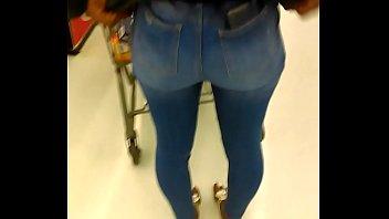 ebony teen pulling up tight jeans