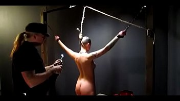 owned slave slut gets her neck branded by.
