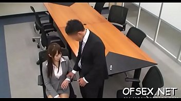 office workers manhandle and gangbang young.