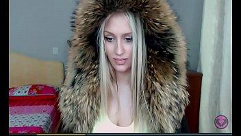 blonde cam girl faux fur hoodie.