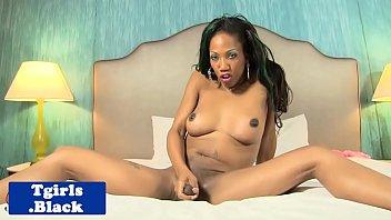 busty black tgirl tugging dick until.