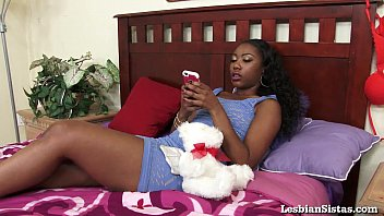 two black babes play with strap-on!