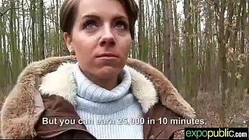 (sasha zima) euro hot girl agree with outdoor.