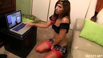 teen reena sky in stockings gives handjob to.