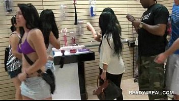 hot brunette flashes big tits in public for cash