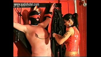 horny mistress ties up slave in her own.
