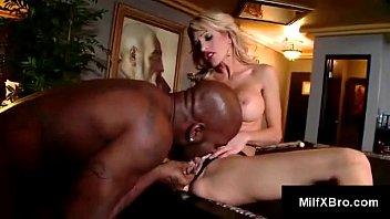 slim blonde mom licks balls, chokes and gags.