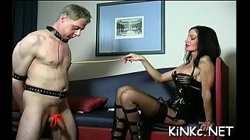 wicked mistress ties up slave&#039_s balls and whips.