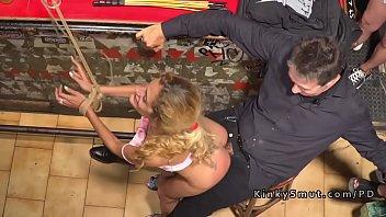 spanish blonde slave fucked in public.