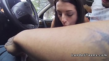 brunette hitchhiker gives road head
