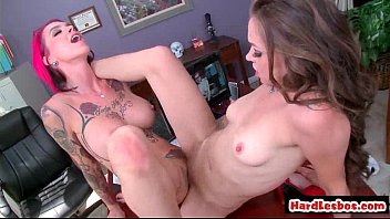 blonde and brunette lesbians explore each others big.