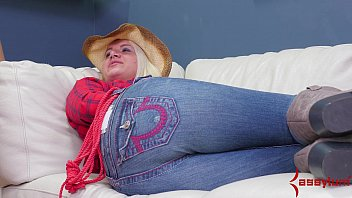 cowgirl rides big toys at brutal.