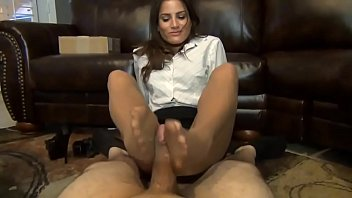 sexy  office employee gives her boss pantyhosed.
