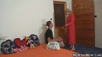 mother-in-law fucks him and wife comes.