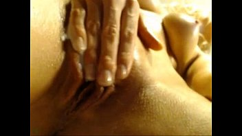 oiled british blonde cums on cam.