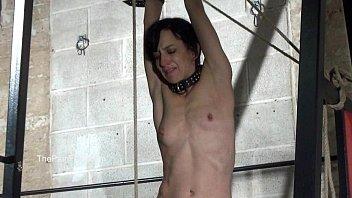 wooden device bondage and extreme slaveslut electro torment.