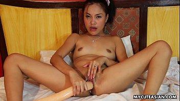 randy little asian slut plays with a long.