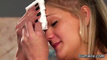 kinky beauty gets sperm shot on her face.