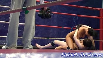 busty dyke licks pussy after wrestling