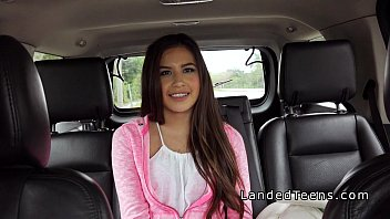 cute latina teen bangs in leather back seat.