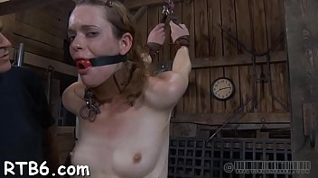 tied up slave receives taut mask with hard.