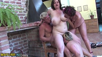three chubby matures fuck a young.